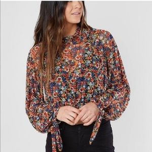 Free People Floral Crop Blouse